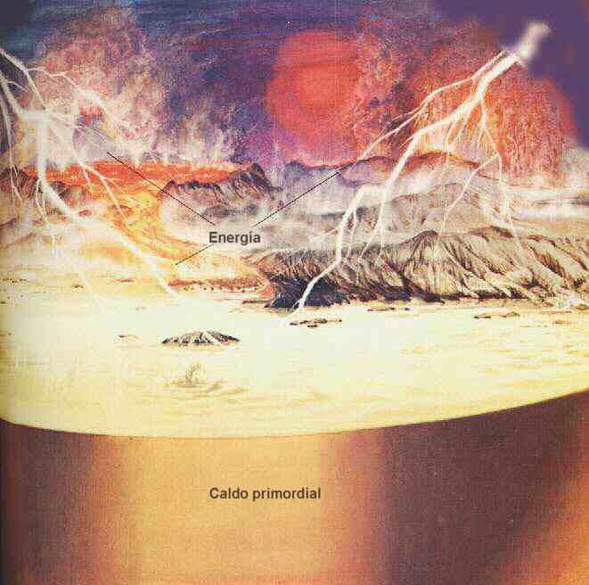 Según Oparin, la superficie terrestre estaba ocupada por un mar caliente, rico en materias químicas y sometido a una gran carga energética